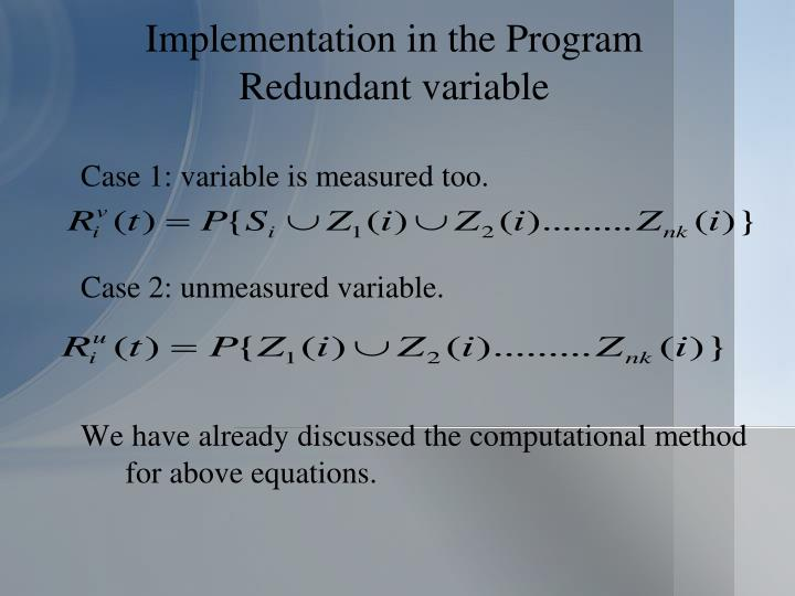 Implementation in the Program