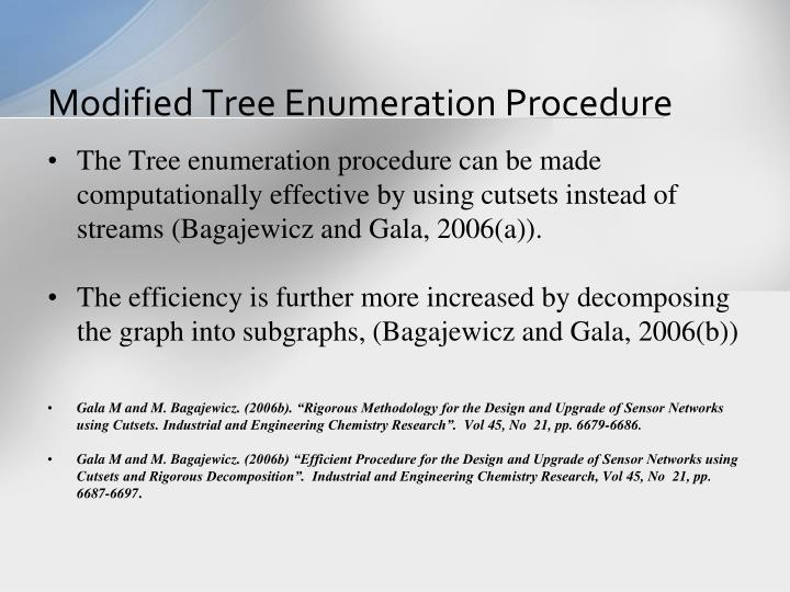 Modified Tree Enumeration Procedure