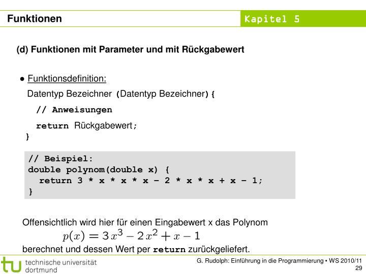 Offensichtlich wird hier für einen Eingabewert x das Polynom