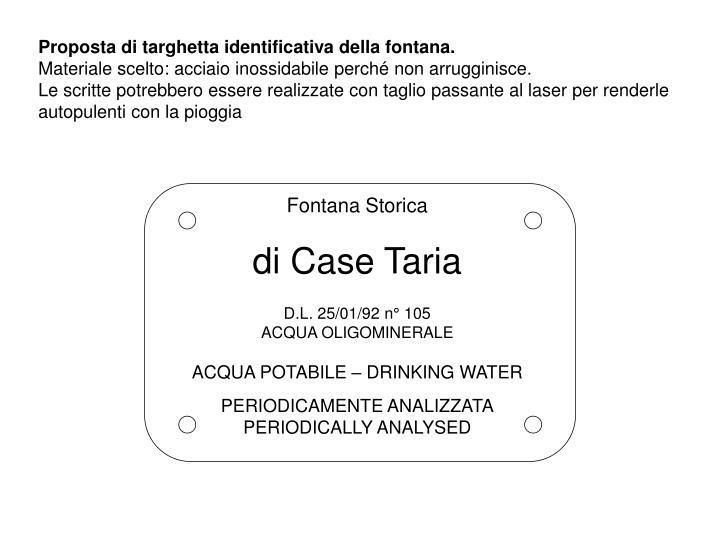 Proposta di targhetta identificativa della fontana.