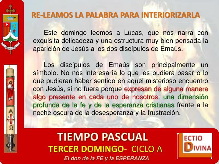 RE-LEAMOS LA PALABRA PARA INTERIORIZARLA