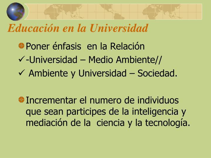 Educación en la Universidad