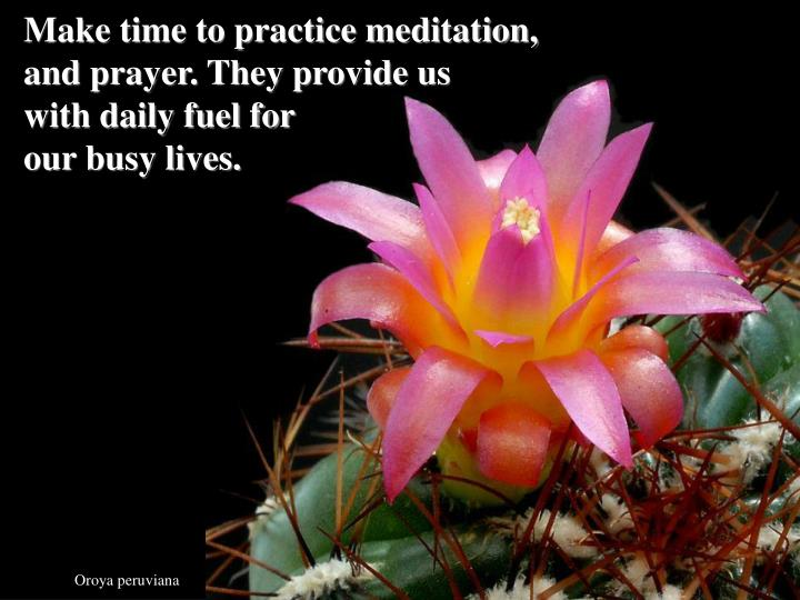Make time to practice meditation,