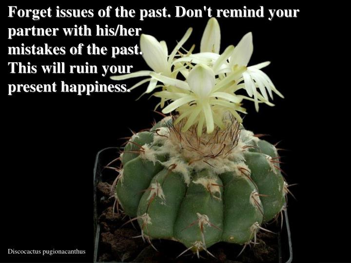 Forget issues of the past. Don't remind your