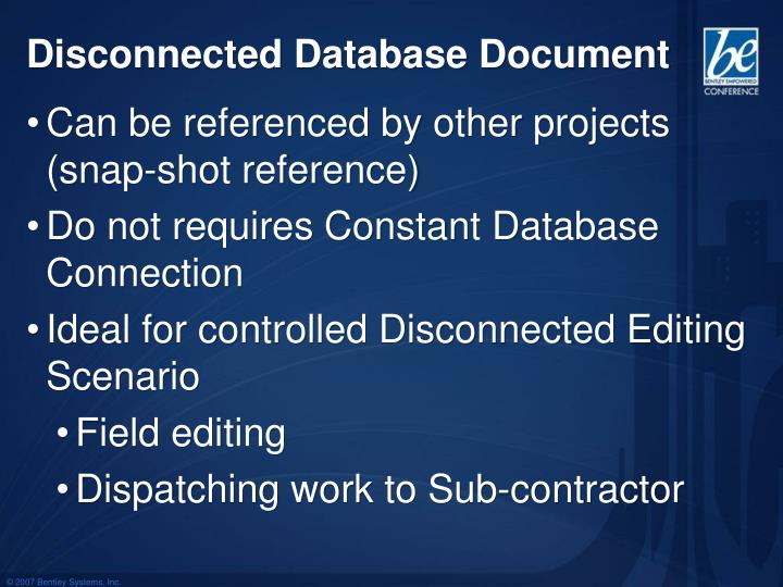 Disconnected Database Document