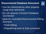 disconnected database document1