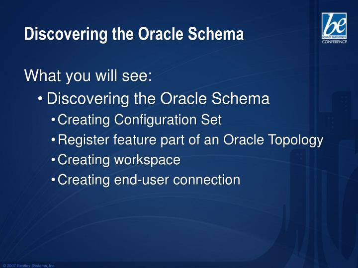 Discovering the Oracle Schema