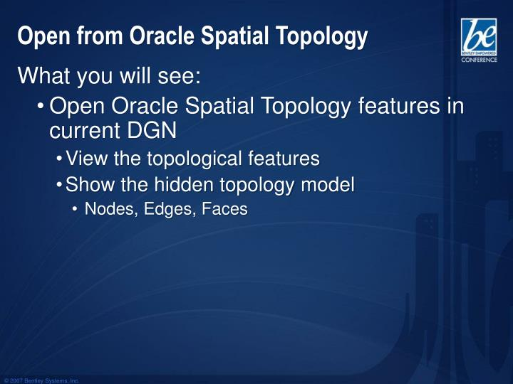 Open from Oracle Spatial Topology