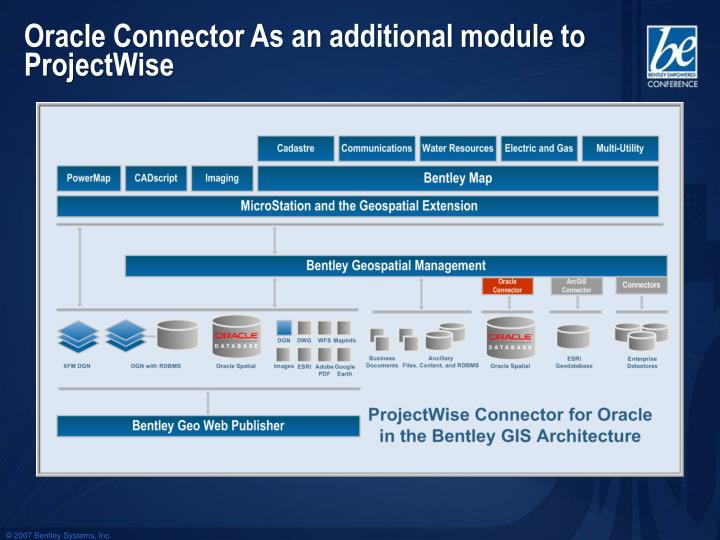 Oracle Connector As an additional module to ProjectWise
