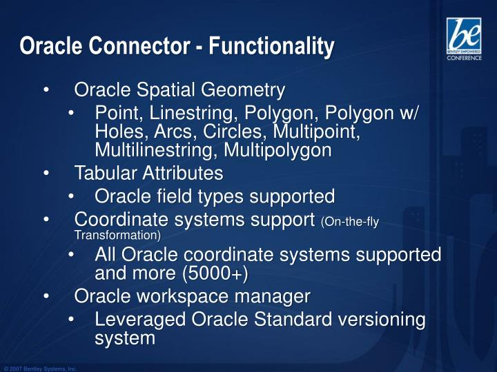 Oracle Connector - Functionality