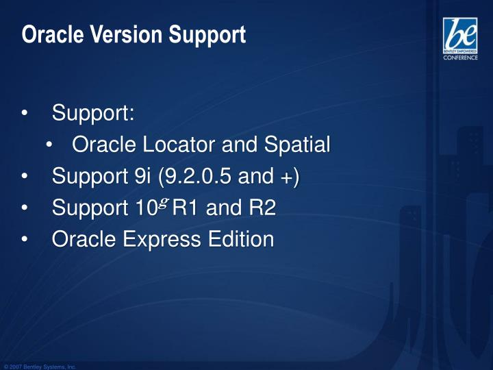 Oracle Version Support