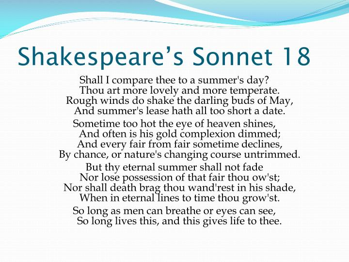 Shakespeare's Sonnet 18