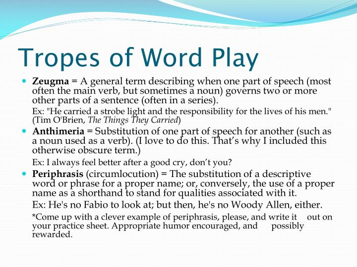 Tropes of Word Play
