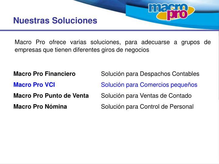 Macro Pro ofrece varias soluciones, para adecuarse a grupos de empresas que tienen diferentes giros de negocios