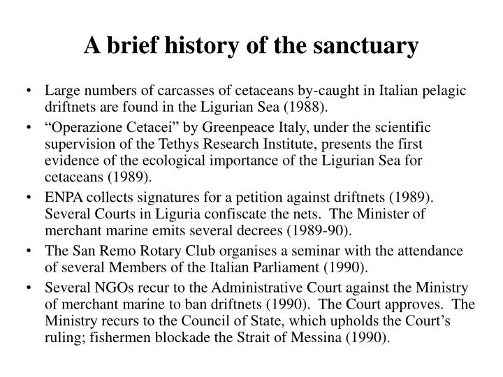 A brief history of the sanctuary