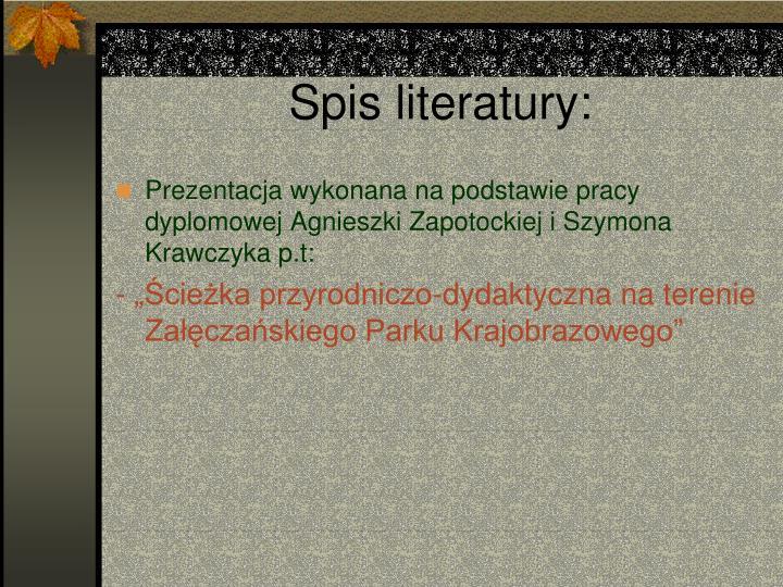 Spis literatury: