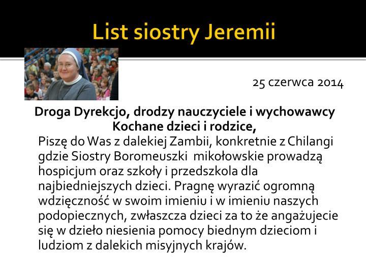 List siostry