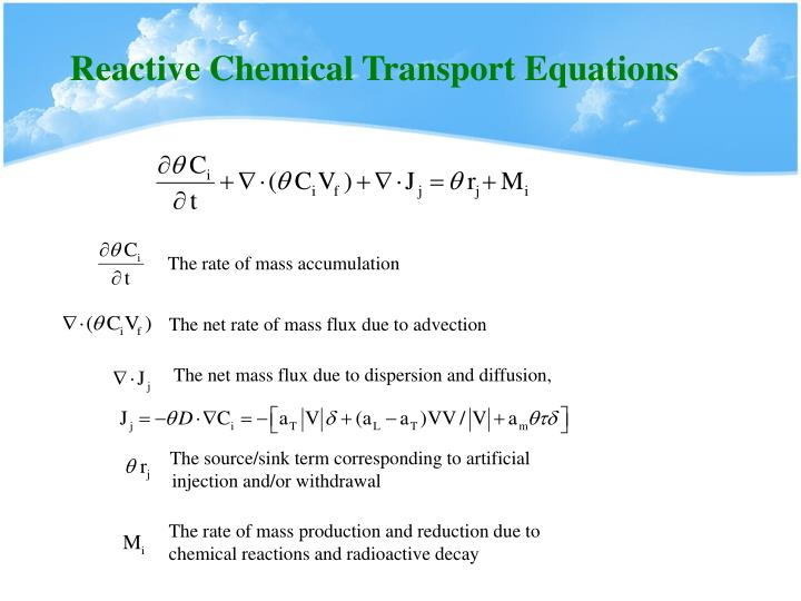 Reactive Chemical Transport Equations