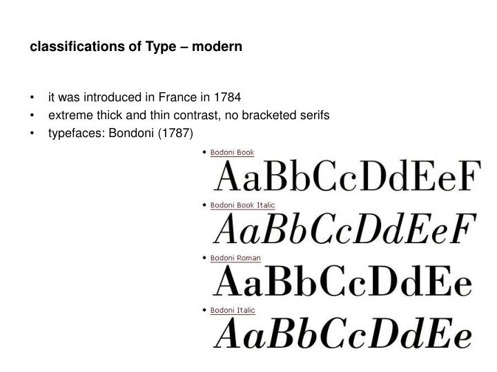 classifications of Type – modern