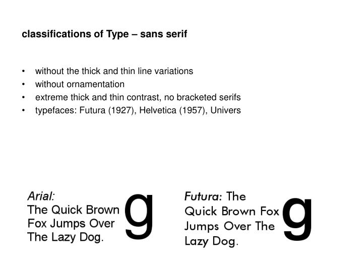 classifications of Type – sans serif