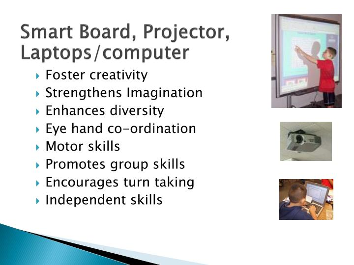Smart Board, Projector, Laptops/computer