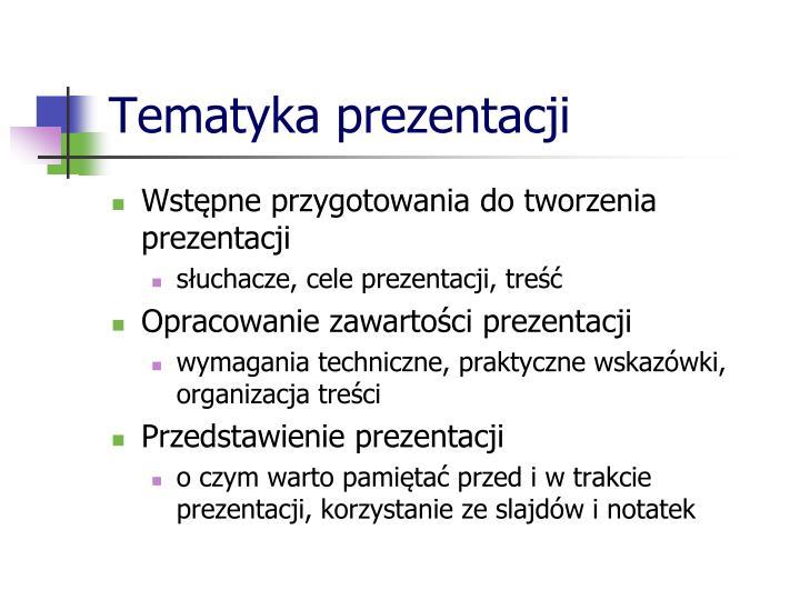 Tematyka prezentacji