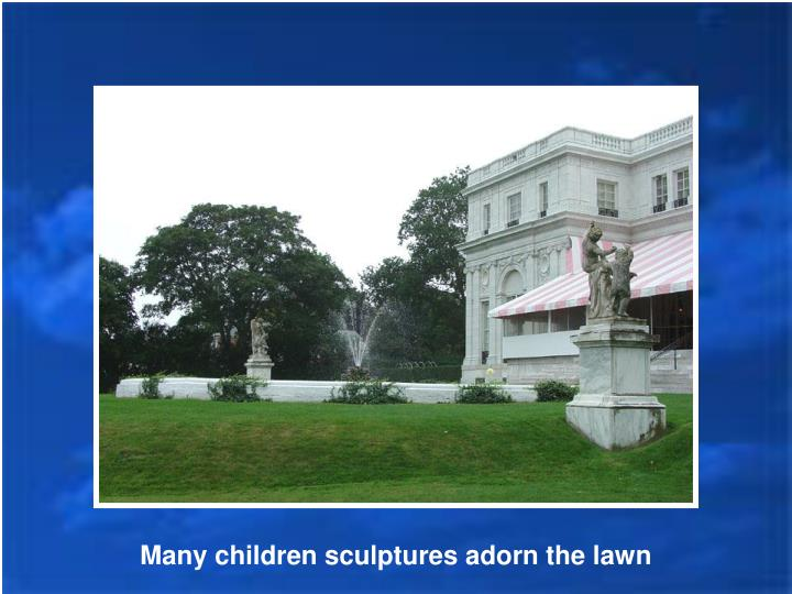 Many children sculptures adorn the lawn
