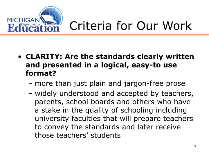 Criteria for Our Work