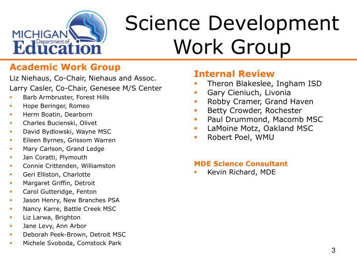 Science Development Work Group