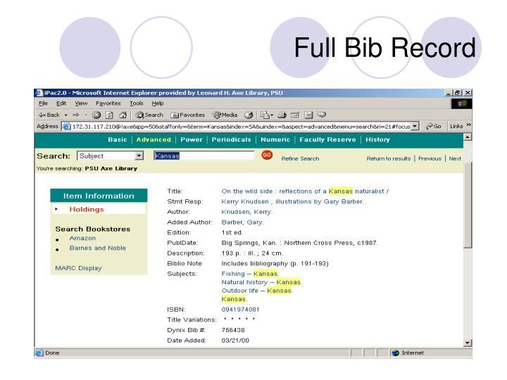 Full Bib Record