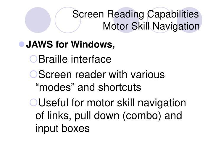 Screen Reading Capabilities