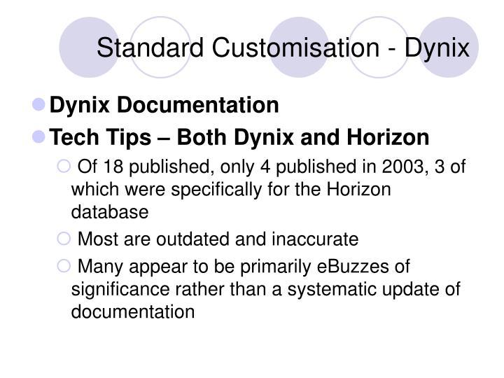 Standard Customisation - Dynix