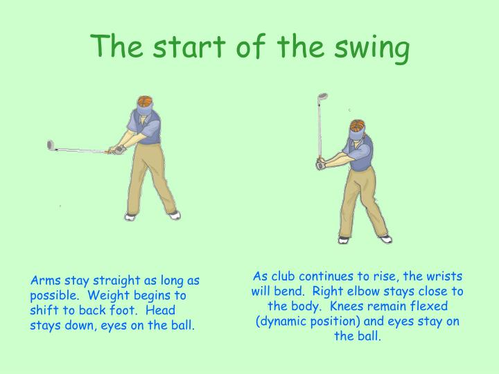The start of the swing