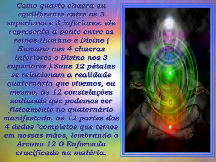 """Como quarto chacra ou equilibrante entre os 3 superiores e 3 inferiores, ele representa a ponte entre os reinos Humano e Divino ( Humano nos 4 chacras inferiores e Divino nos 3 superiores ).Suas 12 pétalas se relacionam a realidade quaternária que vivemos, ou mesmo, às 12 constelações zodiacais que podemos ver fisicamente no quaternário manifestado, as 12 partes dos 4 dedos """"completos que temos em nossas mãos, lembrando o Arcano 12 O Enforcado crucificado na matéria."""