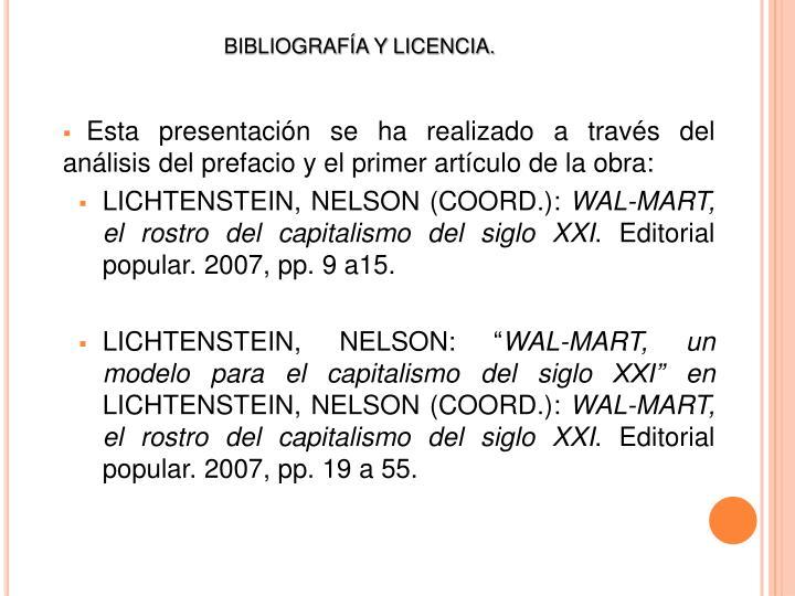 BIBLIOGRAFÍA Y LICENCIA.