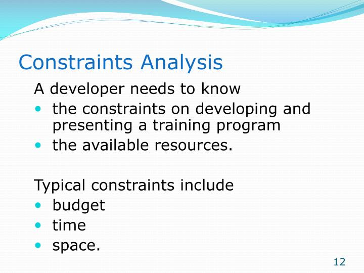 Constraints Analysis