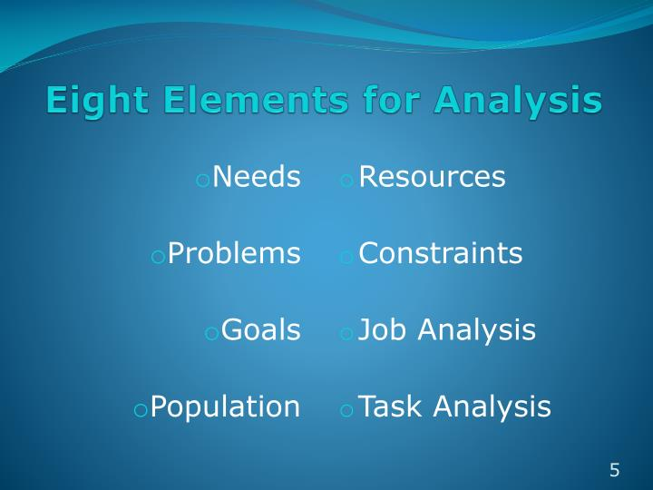 Eight Elements for Analysis