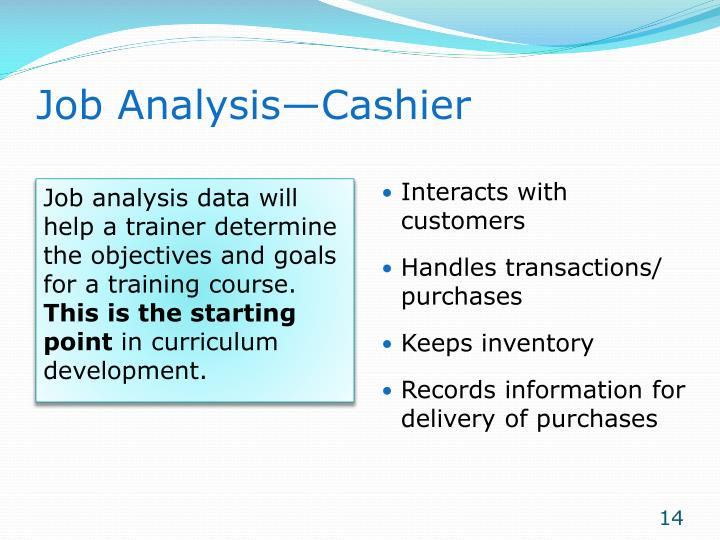 Job Analysis—Cashier