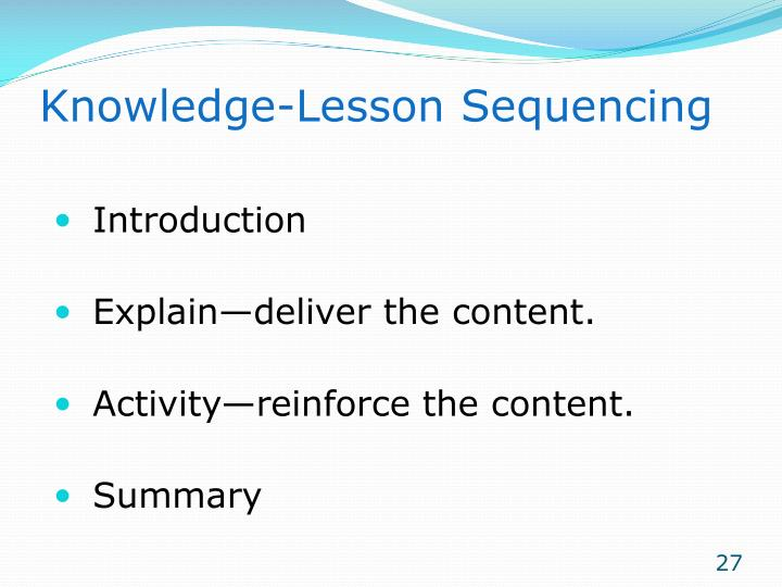 Knowledge-Lesson Sequencing