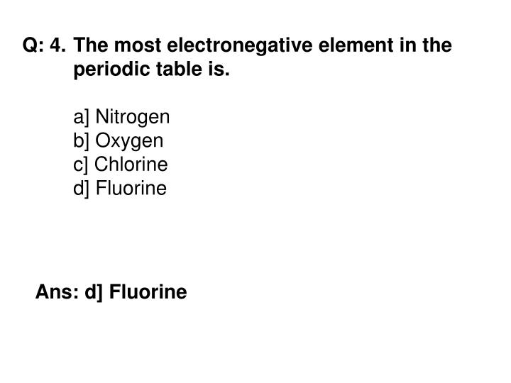 Q: 4.	The most electronegative element in the 	periodic table is.