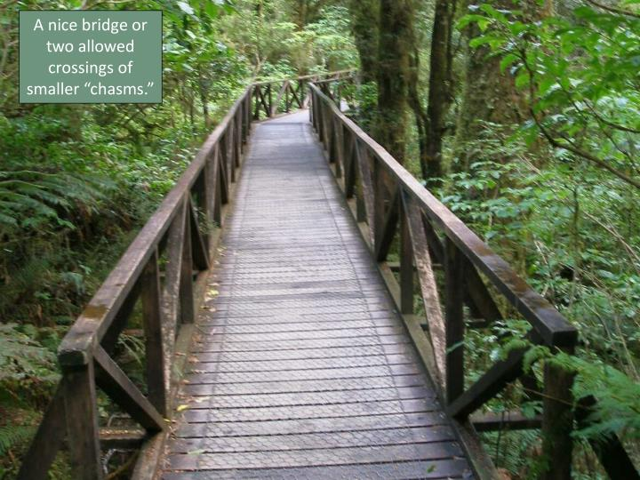 "A nice bridge or two allowed crossings of smaller ""chasms."""