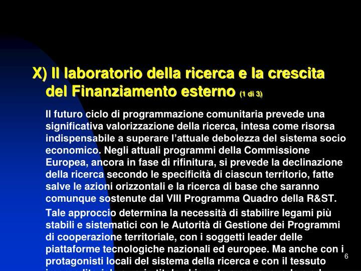 X) Il laboratorio della ricerca e la crescita del Finanziamento esterno