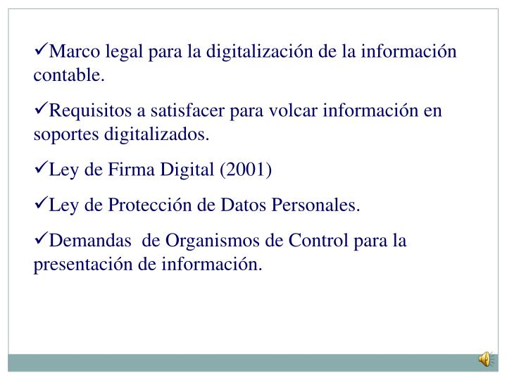 Marco legal para la digitalización de la información contable.
