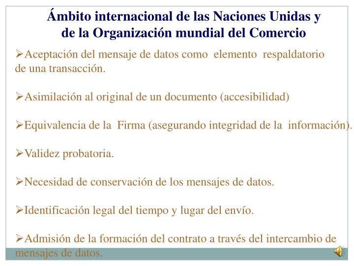 Ámbito internacional de las Naciones Unidas y de la Organización mundial del Comercio