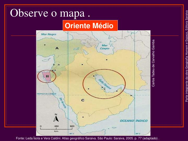 Observe o mapa .