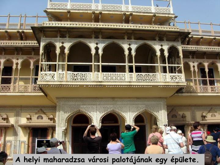 A helyi maharadzsa vrosi palotjnak egy plete.