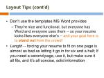 layout tips cont d