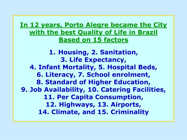 In 12 years, Porto Alegre became the City