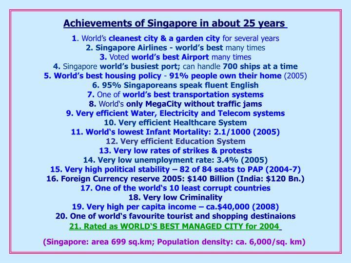 Achievements of Singapor