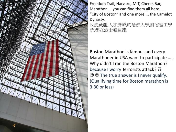 "Freedom Trail, Harvard, MIT, Cheers Bar, Marathon…..you can find them all here …… ""City of B..."